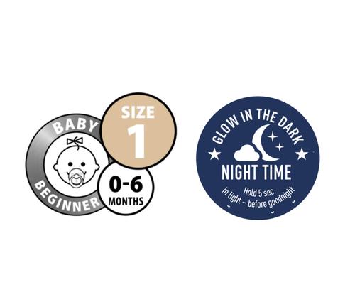 BIBS Dummies Twin Pack (Size 1) - Night Glow Baby Blue