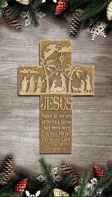 Nativity Wall Cross 8 inch