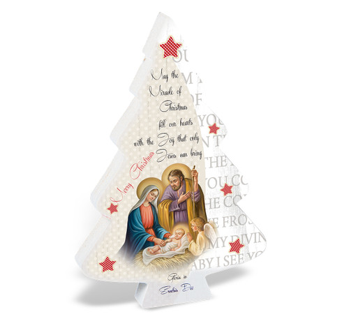 Wooden Christmas Tree with Holy Family Scene