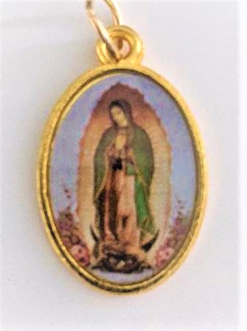 "Medal 1"" gold/epoxy color O L of Guadalupe"