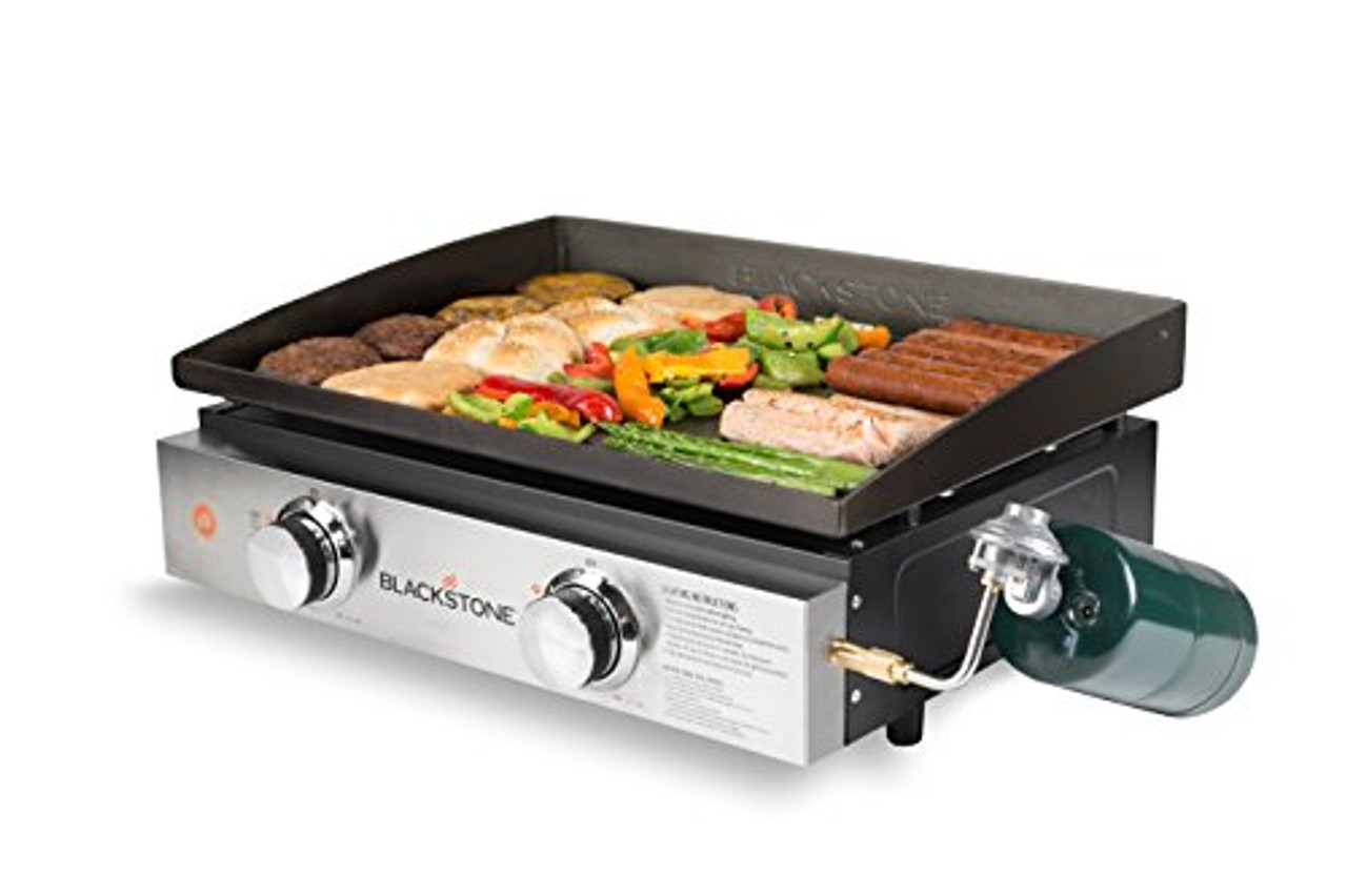 Blackstone Tabletop Grill - 22 Inch Portable Gas Griddle - Propane Fueled - 2 Adjustable Burners - Rear Grease Trap - For Outdoor Cooking While Camping, Tailgating or Picnicking - Black