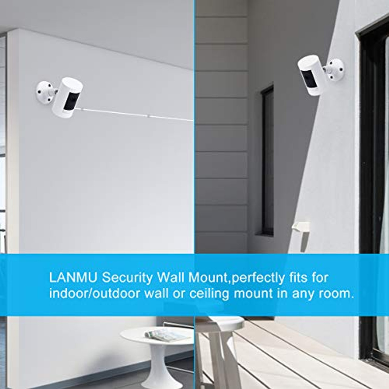 Wall Mount for Ring Stick Up Cam,LANMU 360 Degree Adjustable Mounting Bracket Compatible with Ring Stick Up Cam Wired,Ring Stick Up Cam Battery & Indoor Cam HD Security Camera (2 Pack)