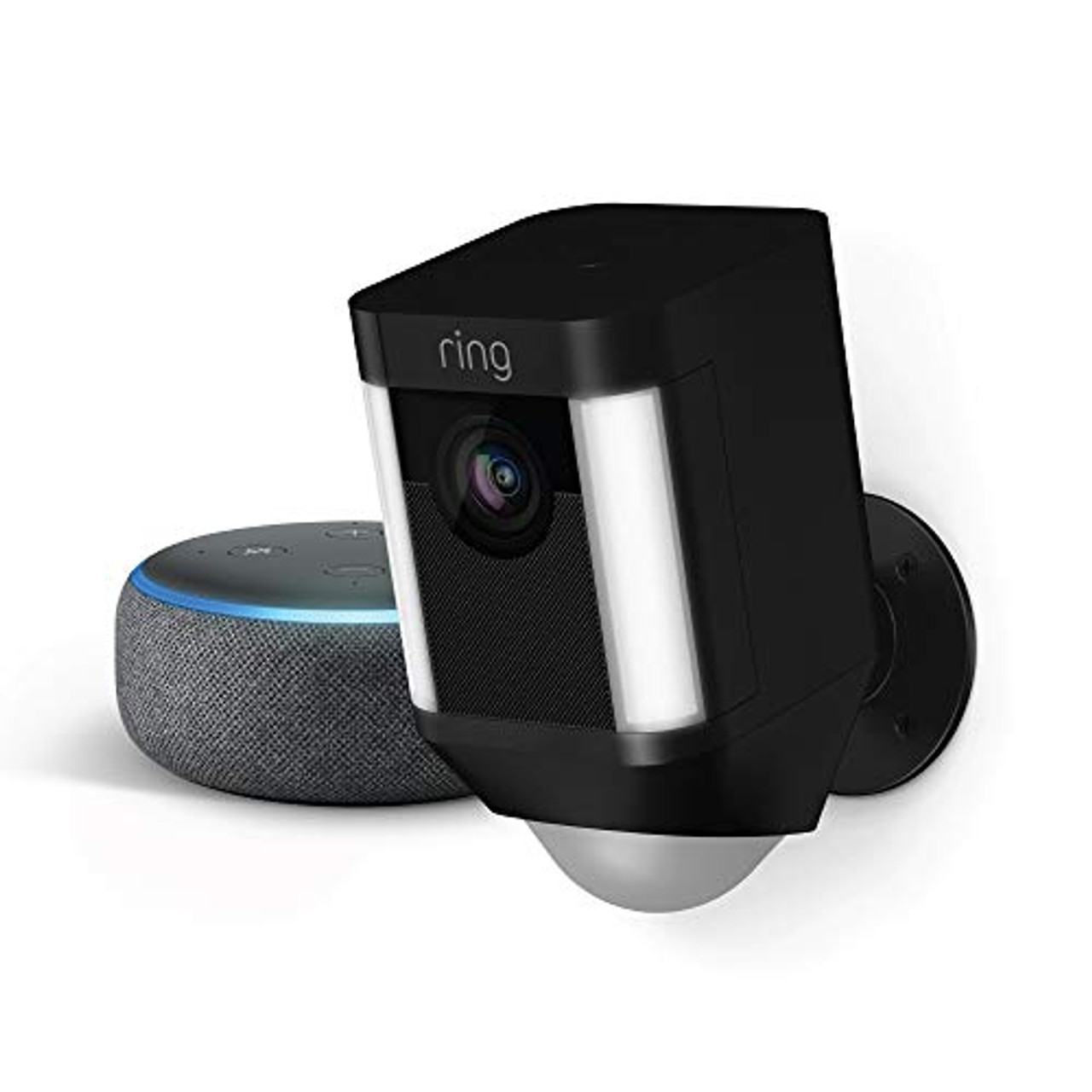 Ring Spotlight Cam Battery (Black) with Echo Dot (Charcoal)