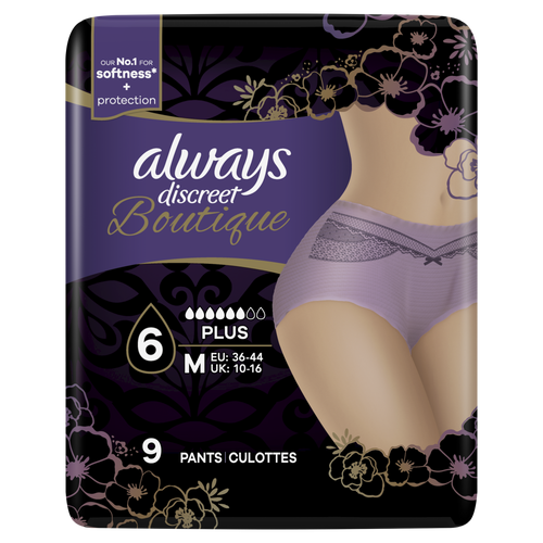 Always Discreet Boutique purple pants for sensitive bladder with feminine design