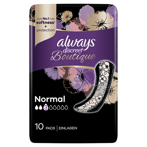 Always Discreet Boutique Normal pads, ideal for frequent leaks.