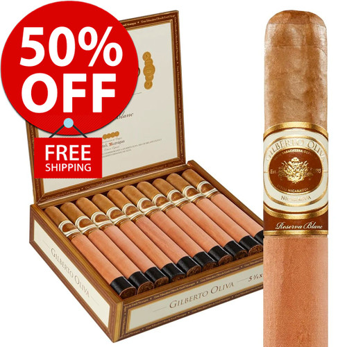 Gilberto Oliva Reserva Blanc Robusto (5x50 / Box of 20) + 50% OFF! + FREE SHIPPING ON YOUR ENTIRE ORDER!