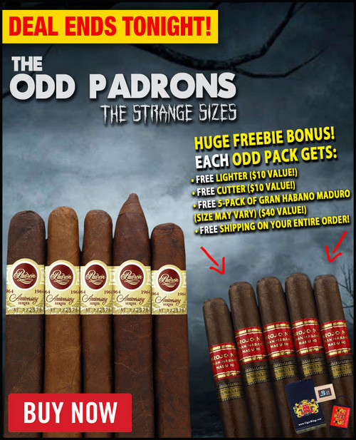 "Padron ""The Odd Padron Strange Sizes"" 1964 Anniversary Sampler (5 PACK SPECIAL) + FREE REFILLABLE JET TORCH LIGHTER! + FREE CIGAR CUTTER! + 5 FREE GRAN HABANO MADURO CIGARS! + FREE SHIPPING ON YOUR ENTIRE ORDER!"