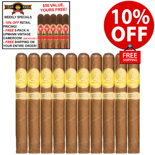 H. Upmann Groupo De Maestros Connecticut Toro (6x50 / 10 PACK SPECIAL) + FREE 5-PACK H. UPMANN 1844 RESERVE CIGARS! + FREE SHIPPING ON YOUR ENTIRE ORDER!