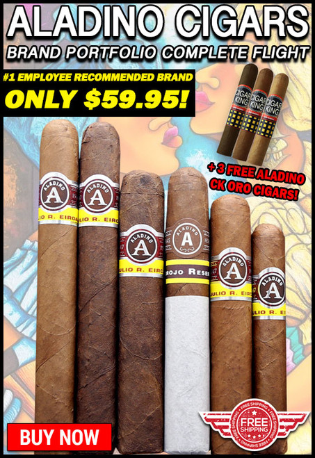 Aladino Complete Brand Portfolio Flight (6-PACK SPECIAL) + 3 FREE Aladino CK ORO Cigars + FREE SHIPPING ON YOUR ENTIRE ORDER!