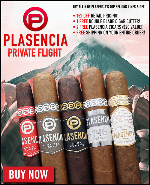 Plasencia Bestseller Private Flight (5 PACK SPECIAL) + 15% OFF RETAIL PRICING! + FREE DOUBLE BLADE CUTTER! + 2 FREE PLASENCIA CIGARS! + FREE SHIPPING ON YOUR ENTIRE ORDER!