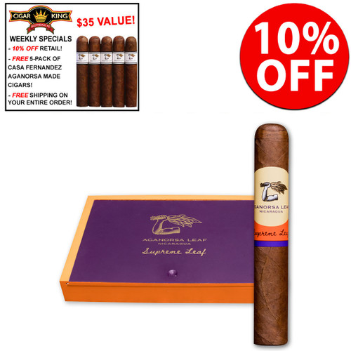 *SOLD OUT* Casa Fernandez Aganorsa Supreme Leaf Corojo (5x52 / Box 10) + 10% OFF + FREE 5-Pack Casa Fernandez Liga-1 Shorty Cigars ($35 VALUE!) + FREE SHIPPING ON YOUR ENTIRE ORDER!