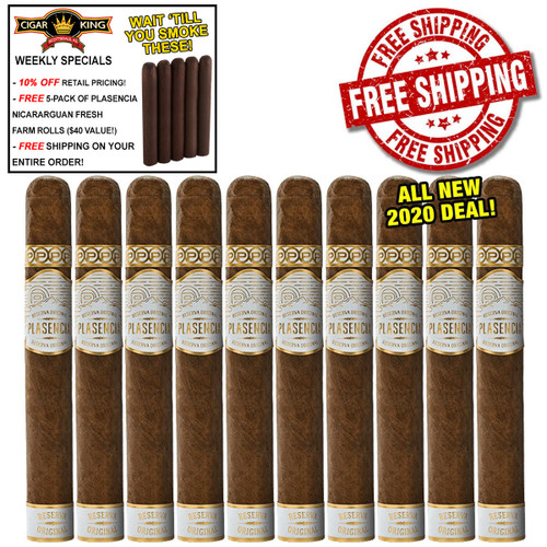 Plasencia Reserva Original Churchill (7x50 / 10 PACK SPECIAL) + 10% OFF RETAIL PRICING! + FREE 5-PACK OF PLASENCIA FRESH NICARAGUAN FARMROLLS ($40 VALUE!) + FREE BOVEDA PACK + FREE SHIPPING ON YOUR ENTIRE ORDER!