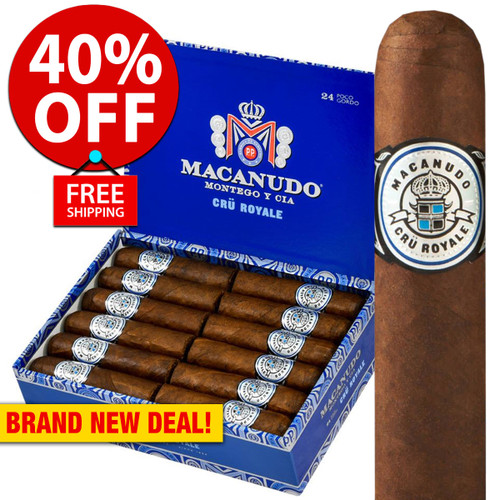 Macanudo Cru Royale Poco Gordo Robusto (4x60 / Box 24) + 40% OFF RETAIL! + FREE SHIPPING ON YOUR ENTIRE ORDER!