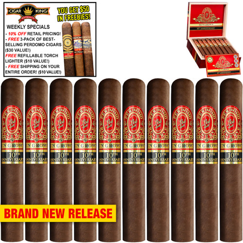 Perdomo Reserve 10th Anniversary BP Sun Grown Churchill (7x54 / 10 PACK SPECIAL) + 10% OFF RETAIL! + FREE 3-PACK OF BESTSELLING PERDOMO CIGARS ($30 VALUE!) + FREE REFILLABLE TORCH LIGHTER ($10 VALUE!) + FREE SHIPPING ON YOUR ENTIRE ORDER!