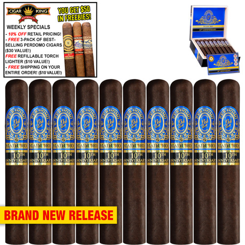 Perdomo Reserve 10th Anniversary BP Maduro Churchill (7x54 / 10 PACK SPECIAL) + 10% OFF RETAIL! + FREE 3-PACK OF BESTSELLING PERDOMO CIGARS ($30 VALUE!) + FREE REFILLABLE TORCH LIGHTER ($10 VALUE!) + FREE SHIPPING ON YOUR ENTIRE ORDER!