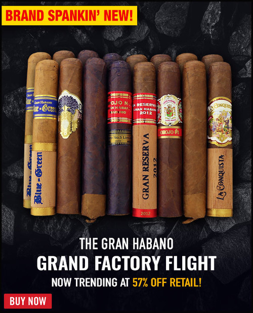 Gran Habano Grand Factory Flight (5.25x52 / 16 CIGAR SAMPLER) + 57% OFF RETAIL PRICING! + FREE SHIPPING ON YOUR ENTIRE ORDER!