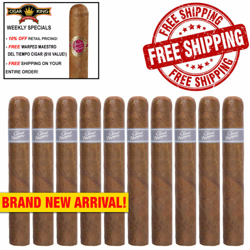 Warped Cloud Hopper Robusto No. 485 (5x48 / 10 PACK SPECIAL) + 10% OFF RETAIL PRICING! + FREE WARPED MAESTRO DEL TIEMPO ($10 VALUE!) + FREE SHIPPING ON YOUR ENTIRE ORDER!