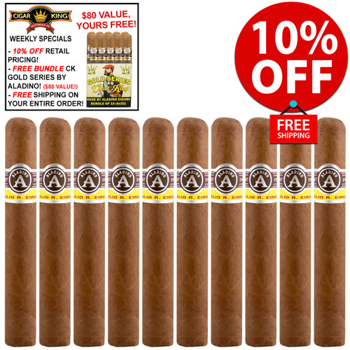 Aladino Robusto (5x50 / 10 PACK SPECIAL) + 10% OFF RETAIL! + FREE BUNDLE OF ALADINO-MADE CK GOLD SERIES ($80 VALUE!) + FREE SHIPPING ON YOUR ENTIRE ORDER!
