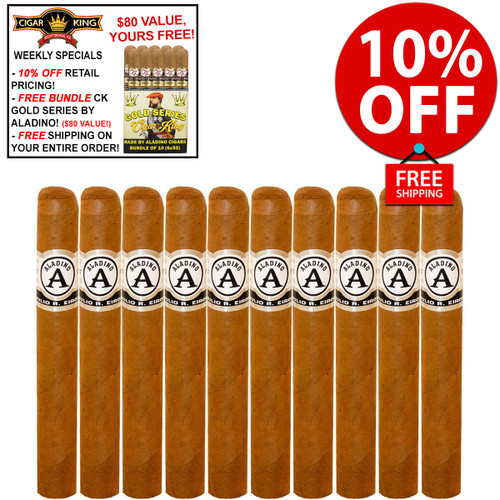 Aladino Connecticut Robusto (5x50 / 10 PACK SPECIAL) + 10% OFF RETAIL! + FREE BUNDLE OF ALADINO-MADE CK GOLD SERIES ($80 VALUE!) + FREE SHIPPING ON YOUR ENTIRE ORDER!
