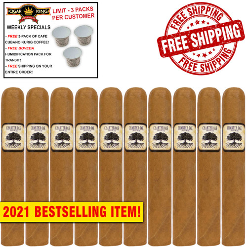 Charter Oak Connecticut Grande (6x60 / 10 PACK SPECIAL) + FREE 3-PACK OF CAFE CUBANO KURIG COFFEE ($15 VALUE!) + FREE BOVEDA HUMI-PACK! + FREE SHIPPING ON YOUR ENTIRE ORDER!