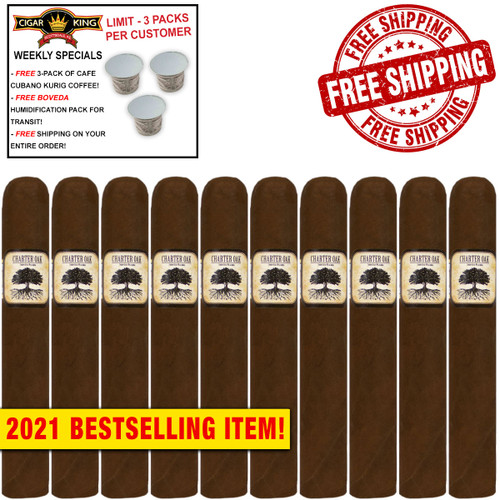 Charter Oak Connecticut Broadleaf Maduro Grande (6x60 / 10 PACK SPECIAL) + FREE 3-PACK OF CAFE CUBANO KURIG COFFEE ($15 VALUE!) + FREE BOVEDA HUMI-PACK! + FREE SHIPPING ON YOUR ENTIRE ORDER!