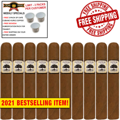 Charter Oak Habano Toro (6x52 / 10 PACK SPECIAL) + FREE 3-PACK OF CAFE CUBANO KURIG COFFEE ($15 VALUE!) + FREE BOVEDA HUMI-PACK! + FREE SHIPPING ON YOUR ENTIRE ORDER!