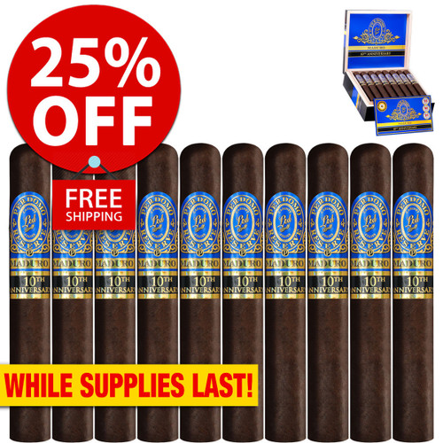 Perdomo Reserve 10th Anniversary BP Maduro Churchill (7x54 / 10 PACK SPECIAL) + 25% OFF RETAIL! + FREE SHIPPING ON YOUR ENTIRE ORDER!