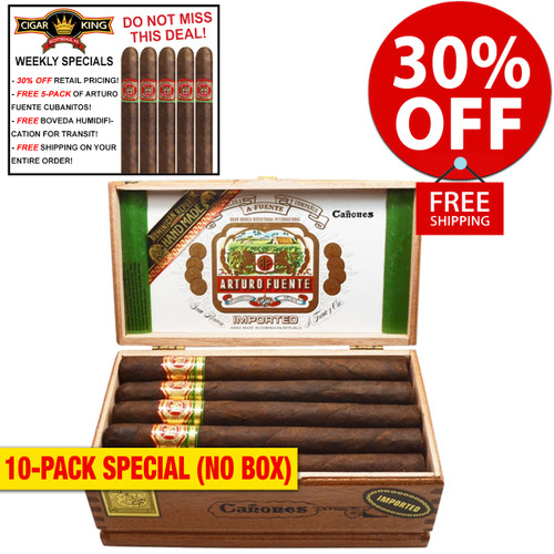 Arturo Fuente Canones Maduro (8.5x52 / 10 PACK SPECIAL) + 30% OFF RETAIL! + FREE 5-PACK FUENTE CUBANITOS! + FREE SHIPPING ON YOUR ENTIRE ORDER!