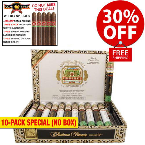 Arturo Fuente King T (7x49 / 10 PACK SPECIAL) + 30% OFF RETAIL! + FREE 5-PACK FUENTE CUBANITOS! + FREE SHIPPING ON YOUR ENTIRE ORDER!