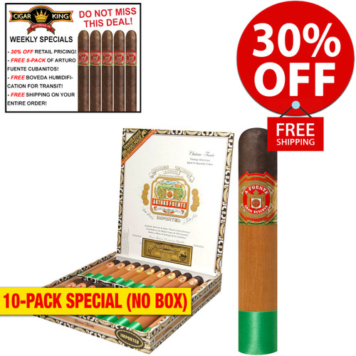 Arturo Fuente Chateau Fuente Maduro (4.5x50 / 10 PACK SPECIAL) + 30% OFF RETAIL! + FREE 5-PACK FUENTE CUBANITOS! + FREE SHIPPING ON YOUR ENTIRE ORDER!