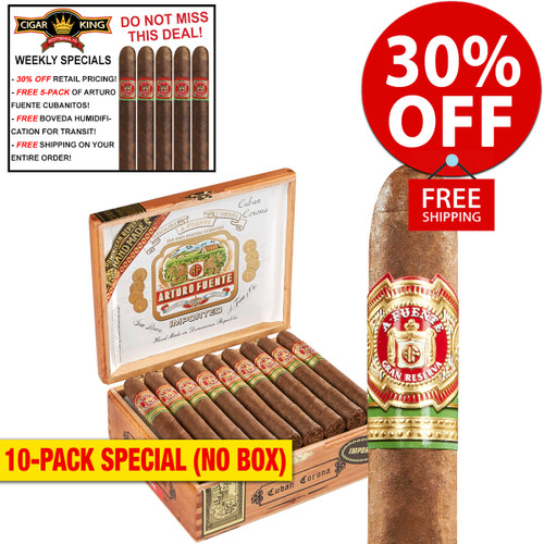 Arturo Fuente Cuban Corona Natural (5.25x45 / 10 PACK SPECIAL) + 30% OFF RETAIL! + FREE 5-PACK FUENTE CUBANITOS! + FREE SHIPPING ON YOUR ENTIRE ORDER!