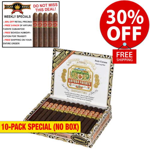 Arturo Fuente Petite Corona Maduro (5x38 / 10 PACK SPECIAL) + 30% OFF RETAIL! + FREE 5-PACK FUENTE CUBANITOS! + FREE SHIPPING ON YOUR ENTIRE ORDER!