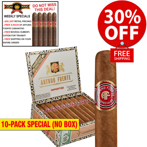 Arturo Fuente Cazadores Natural (6x50 / 10 PACK SPECIAL) + 30% OFF RETAIL! + FREE 5-PACK FUENTE CUBANITOS! + FREE SHIPPING ON YOUR ENTIRE ORDER!