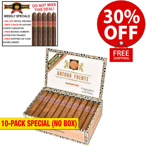 Arturo Fuente Conquistadores Natural (5.5x56 / 10 PACK SPECIAL) + 30% OFF RETAIL! + FREE 5-PACK FUENTE CUBANITOS! + FREE SHIPPING ON YOUR ENTIRE ORDER!