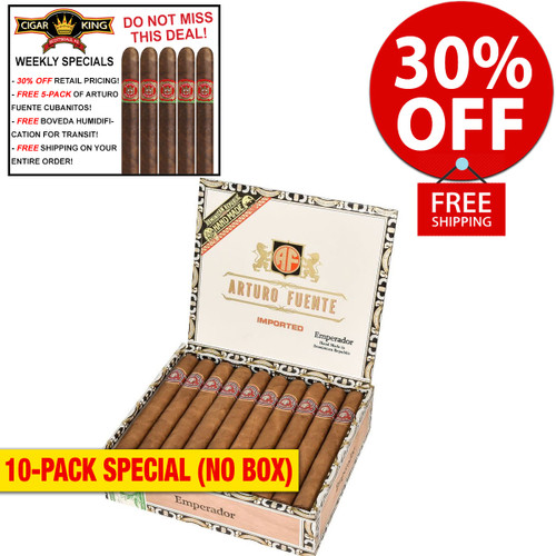 Arturo Fuente Emperador Natural (7x52 / 10 PACK SPECIAL) + 30% OFF RETAIL! + FREE 5-PACK FUENTE CUBANITOS! + FREE SHIPPING ON YOUR ENTIRE ORDER!