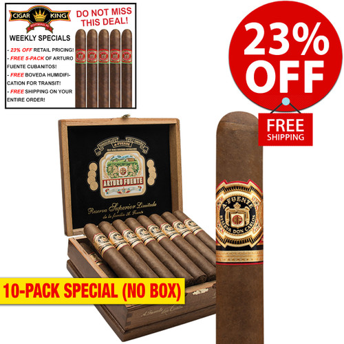 Arturo Fuente Don Carlos Belicoso (5.3x52 / 10 PACK SPECIAL) + 23% OFF RETAIL! + FREE 5-PACK FUENTE CUBANITOS! + FREE SHIPPING ON YOUR ENTIRE ORDER!