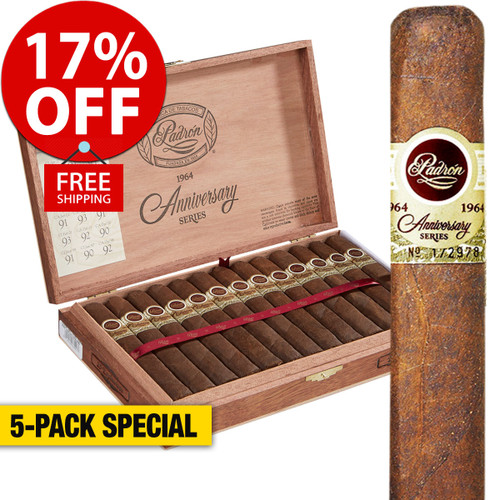 Padron 1964 No. 4 Natural (6.5x60 / 5 Pack) + 17% OFF RETAIL! + FREE SHIPPING ON YOUR ENTIRE ORDER!