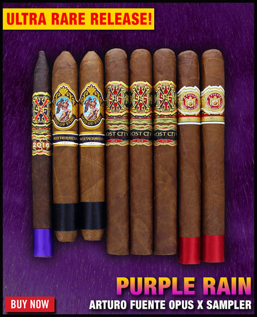 *SOLD OUT* Arturo Fuente Extremely Rare Opus X Purple Rain Sampler (8 CIGAR SAMPLER) + $100 OFF DISCOUNT + FREE BOVEDA HUMI-FRESH PACK + FREE SHIPPING ON YOUR ENTIRE ORDER!