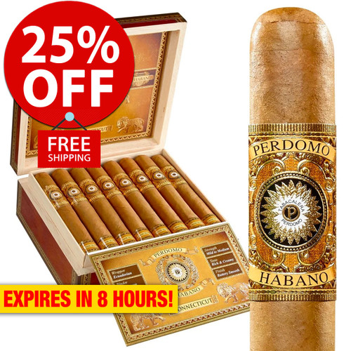 Perdomo Habano Bourbon Barrel Aged Connecticut Epicure (6x54 / Box 24) + 25% OFF RETAIL! + FREE SHIPPING ON YOUR ENTIRE ORDER!