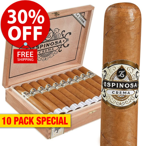 Espinosa Crema Connecticut No. 4 Robusto (5.5x52 / 10 PACK SPECIAL) + 30% OFF RETAIL! + FREE SHIPPING ON YOUR ENTIRE ORDER!