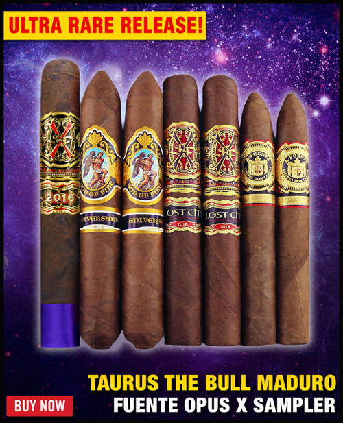 *SOLD OUT* Arturo Fuente Extremely Rare Opus X Tauros The Bull Maduro Sampler (7 CIGAR SAMPLER) + $100 OFF DISCOUNT + FREE BOVEDA HUMI-FRESH PACK + FREE SHIPPING ON YOUR ENTIRE ORDER!