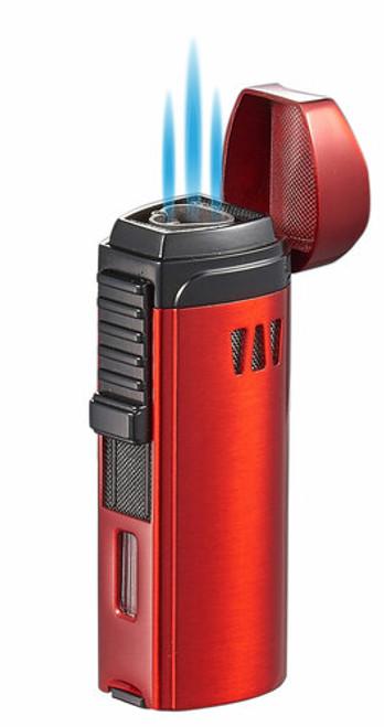 Visol Cigar King Denali Triple Flame Torch Lighter Red