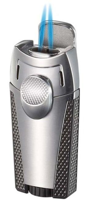 Visol Cigar King Meru Dual Flame Torch Lighter Silver