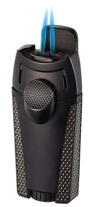 Visol Cigar King Meru Dual Flame Torch Lighter Black