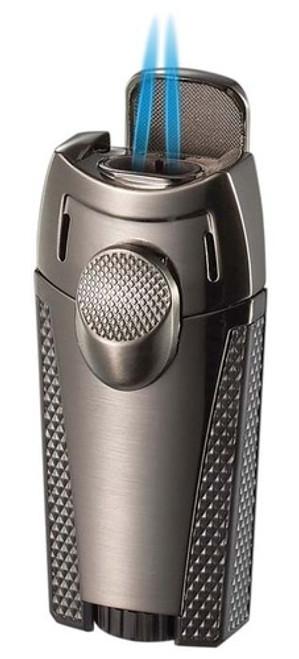 Visol Cigar King Meru Dual Flame Torch Lighter Gunmetal