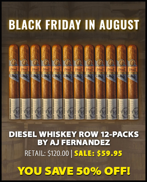 Diesel Whiskey Row Robusto by AJ Fernandez (5.5x52 / 12 PACK SPECIAL) + 50% OFF RETAIL PRICING! + FREE BOVEDA HUMIDIFICATION PACKET! + FREE SHIPPING ON YOUR ENTIRE ORDER!