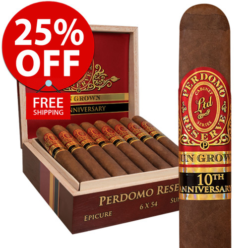 Perdomo Reserve 10th Anniversary Sun Grown Robusto (5x54 / 10 PACK SPECIAL) + 25% OFF RETAIL! + FREE SHIPPING ON YOUR ENTIRE ORDER!