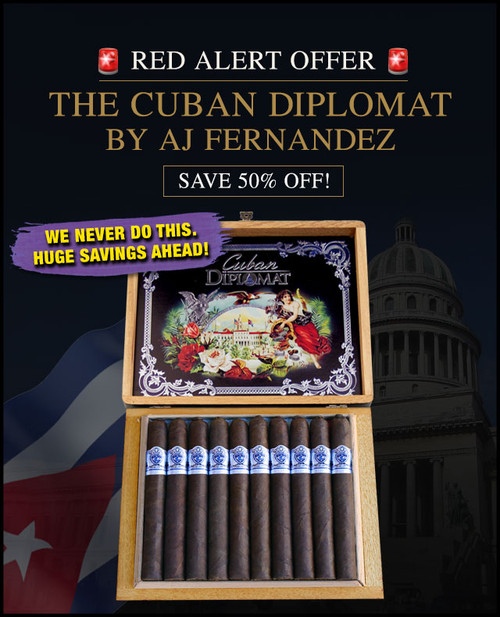 Cuban Diplomat Robusto By AJ Fernandez Limited Edition (5x52 / Bundle 20) + 50% OFF RETAIL! + FREE SHIPPING ON YOUR ENTIRE ORDER!