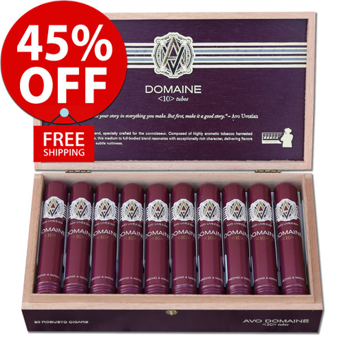 Avo Domaine No. 10 Robusto en Tubos (5x50 / Box 20) + 45% OFF RETAIL! + FREE SHIPPING ON YOUR ENTIRE ORDER!