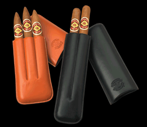Diamond Crown Exquisite Leather Cigar Case - Robusto 3 Finger in Black